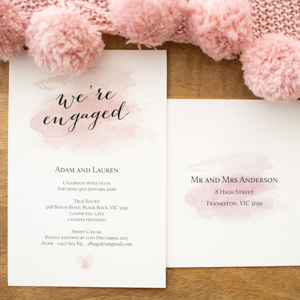 Pink Engagement Invitations Online Melbourne